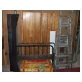 VINTAGE TOY BOX OF WHEELS, BED FRAME 2 LADDERS