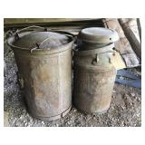MILK CAN AND CREAM CAN IN SHED