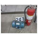 Single phase motor & fire extinguisher