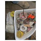 Plastic Bin of Plumbing Tools