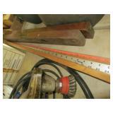 2 old wooden levels & yardsticks