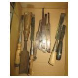 box w/old Wood chisels
