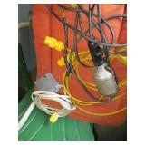 Assorted Extension Cords & Trouble Light