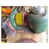 Box w/2 Old Tins & Sharpening Stones & Dart Set