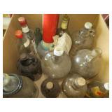 Box of Old Vinegar Jugs, etc.