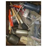 Box of Oil Cans & Paints & Part Cleaning Brushes