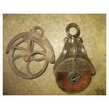 2 Antique Pulleys