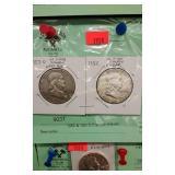 1952 & 1957D Franklin Halves