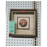 framed signed Hibel hand pt. plaque