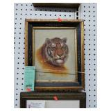 +Antique Framed Oil on Canvas of Tiger by B. Lean
