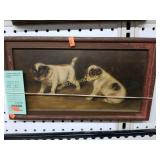 +Antique Framed Oil Painting on Board of Puppies