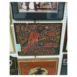 framed Keith Haring style stitched fabric scene