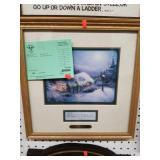 "framed Kinkade ""Peace on Earth"" w/ certificate on"