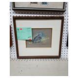 framed pastel bird scene signed Basil Ede