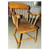 EARLY PLANK SEAT ARM CHAIR