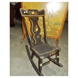EARLY PAINT DECORATED PLANK SEAT ROCKER
