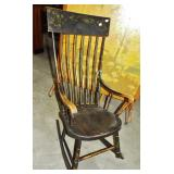 EARLY DECORATED PLANK SEAT ROCKER