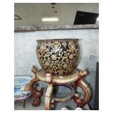ORIENTAL JARDINIERE AND STAND