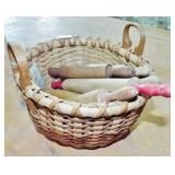 EARLY BASKET AND SMALL ROLLING PINS