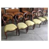 6 VICTORIAN UPH. SEAT BALLOON BACK CHAIRS