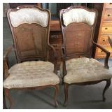 2 CANE BACK ARM CHAIRS