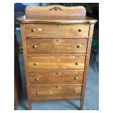 OAK 5 DRAWER HIGH CHEST