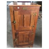 2 DOOR OAK ICE BOX CABINET