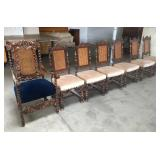 CARVED ARM CHAIR 6 CANE BACK CHAIRS