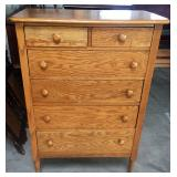 2 OVER 4 DRAWER OAK HIGH CHEST