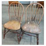 2 PLANK SEAT BACE BACK WINDSOR CHAIRS