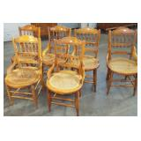 6 VICTORIAN CAN SEAT SPINDLE BACK CHAIRS