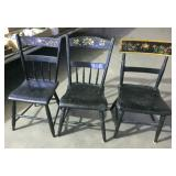 3 EARLY PLANK SEAT CHAIRS
