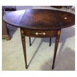 TAPERED LEG DROP LEAF INLAID TABLE