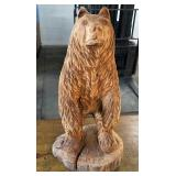 TREE TRUNK WOOD CARVED BEAR