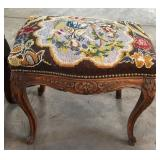 CARVED VANITY SEAT WITH NEEDLE POINT TOP