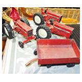 TOY TRACKTORS AND WAGON