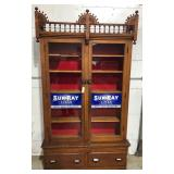 Wood & Glass Cigar Cabinet Showcase