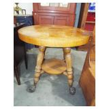OAK ROUND TABLE WITH GLASS BALL & CLAW FEET