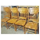 4 PRESSED BACK DINING CHAIRS