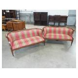2 SMALL BOWED END SOFA