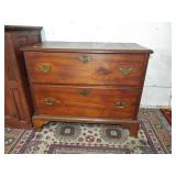 EARLY 2 DRAWER CHEST WITH DOVETAILED FEET