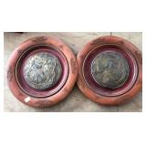 2 ROUND PLAQUES WITH INSERTS