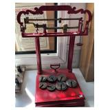 RED PAINTED HOWE PLATFORM SCALE W/ WEIGHTS