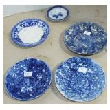 5 ASSORTED BLUE DECORATED DISHES