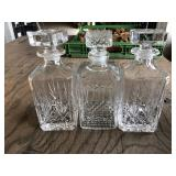ASSORTED CRYSTAL GLASS DECANTERS