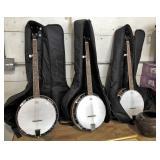 (3) 5 string banjos