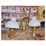 hanging brass double student lamp