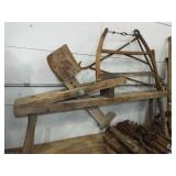 early wood carving bench & buck saw