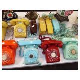 colored retro telephones
