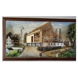 Abner Zook 1969 3D Painting, 24x42 barn raising scene